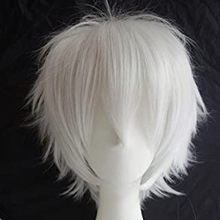 S-noilite Unisex Short Straight Cosplay Hair Wig Women Mens Male Fashion Anime Party Fancy Style Costume Synthetic Full Wigs White