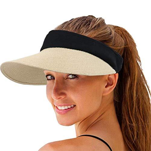 Hcimooy Damen Visoren Faltbar Empty Top Sonnenvisor Frauen Stroh Sonnenblende Hut breite Krempe Sommer UV-Schutz Strandkappe (Nicht-gerade Weiss)