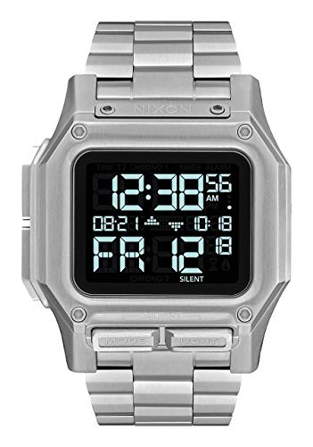 NIXON Regulus SS A1268 - Silver - 100m Water Resistant Men's Digital Sport Watch (46mm Watch Face, 29mm-24mm Stainless Steel Band)