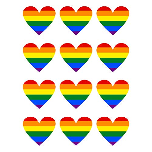 12 Stück Aufkleber Herz Regenbogen Flagge Gay Pride LGBT Schwul Homosexuell   wetterfest & UV Schutz   Set