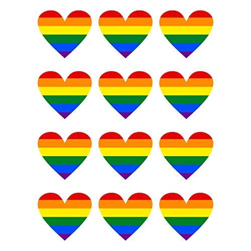 12 Stück Aufkleber Herz Regenbogen Flagge Gay Pride LGBT Schwul Homosexuell | wetterfest & UV Schutz | Set