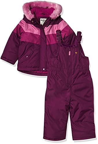 Osh Kosh Girls' Toddler Ski Jacket and Snowbib Snowsuit Outfit Set, Burgundy/Pink, 2T