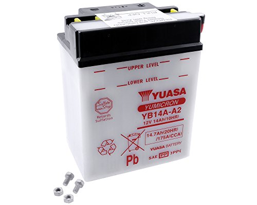 YUASA accu YB 14A-A2, zonder zuurpak prijs incl. wettelijke garantie op batterijen € 7,50 incl. BTW
