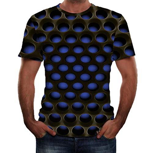 Fenverk T-Shirt Herren 3D Druck Rundhals Kurzarm Shirt Lässig Lustig T Shirt Sommer Top Weich Bequem Oberteil Kleidung Bluse Mode Streetwear(B#Blau,XXXL)