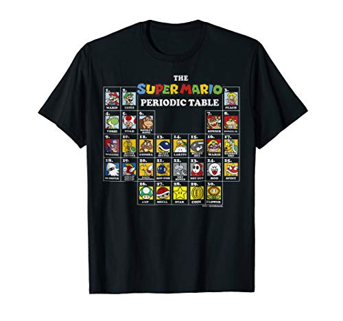 Super Mario Periodic Table Of Characters Graphic T-Shirt T-Shirt