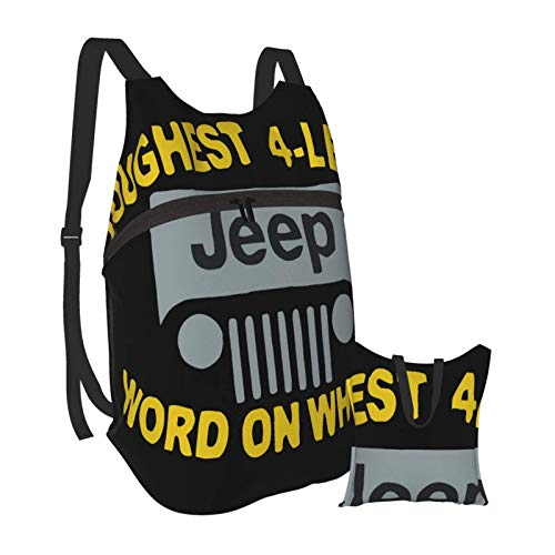KANSS Bla Jeep Letter Hiking Bapack Men and Women Waterproof Portable Folding Bapack Travel Sports Shopping Ultra Light Leisure Bag