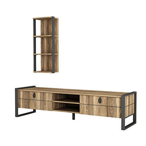 Alphamoebel 4927 Lost Wohnwand Tv Board Lowboard Regal hängend Sideboard Metallfüße, Wohnzimmer, Walnuss Braun, Wandregal Metallrahmen, 184,5 x 34 x 45 cm