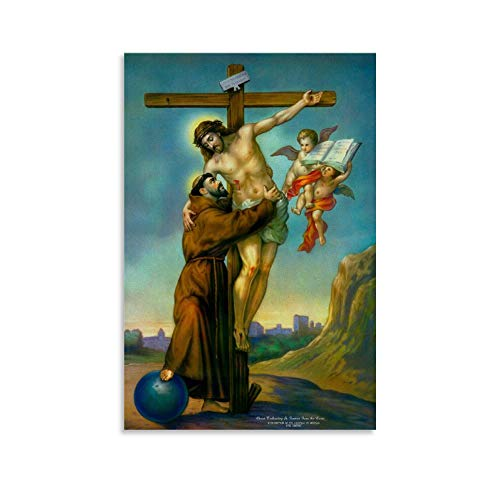 Póster de Jesucristo en la cruz con diseño de San Francisco de Asís y cuadro artístico de la Biblia de San Francisco de Asís, impresión moderna de 50 x 75 cm