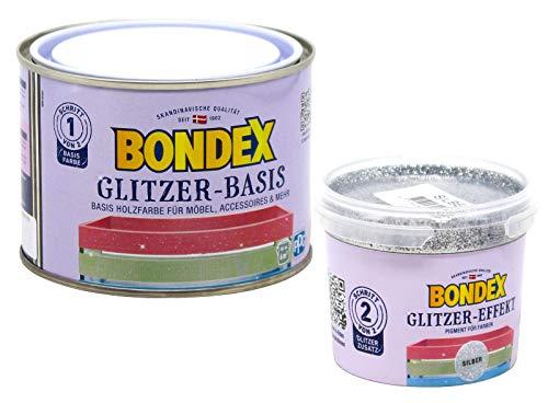 Bondex Glitzerfarbe Glitter-Wandfarbe zum Streichen 0,6L, Holz-Möbelfarbe mit Glitzer-Effekt zur kreativen Gestaltung Innen (silber, perle)