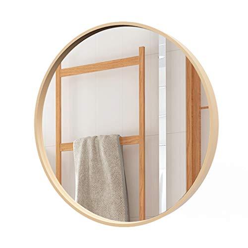 Miroirs de salle de bain Miroir De Salle De Bains Miroir Rond Miroir De Maquillage Miroir De Vanité De Bâti De Mur Miroir De Dressing Cadre En Bois Plein