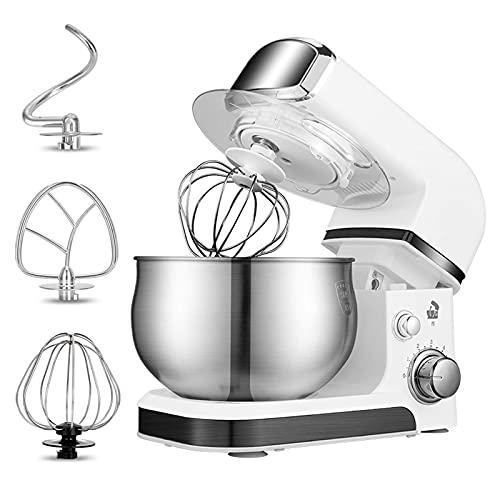 Batidora Alimentos pie,licuadora eléctrica Liviana con tazón para Mezclar 3.5 l,Incluye batidor Gancho para Masa,Ideal para Principiantes y panaderos avanzados (Blanco)