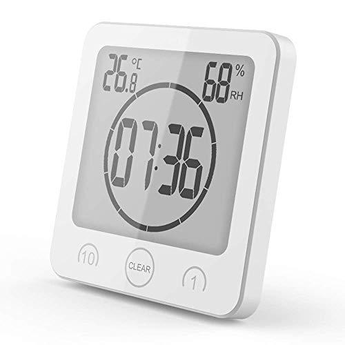 VORRINC Badezimmeruhr Digital Wecker Uhr Badezimmer Dusche Saugnapf Shower Clock mit LCD Display Luftfeuchtigkeit Temperatur Wanduhren,Countdown Timer Für Dusche Küche (Weiß)