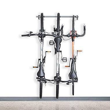 Monkey Bars Wall Bike Rack 2.0 - Stores 3 Bikes - Heavy Duty Bike Wall Mount