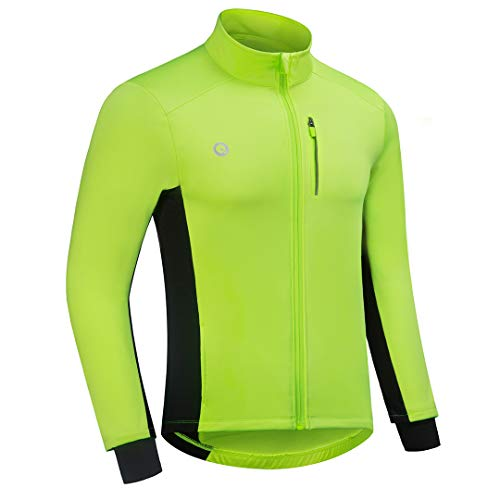 Przewalski Cycling Bike Jackets for Men Winter Thermal Running Jacket Windproof Breathable Reflective Softshell Windbreaker (Green, Chest 41''-44'' - Large)