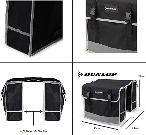 Dunlop FGT19 Doppel-Fahrradtasche Gepäckträgertasche für Rahmen, Cityrad Gepäckträger Tasche je 14,5 L Volumen, wasserdichte Radtasche , Fahrrad Seitentasche mit Clip-Verschluß, schwarz - 4
