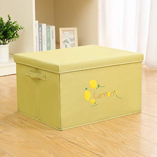 MRBJC Caja de almacenamiento estilo nodic con cesta de dibujos animados para ropa, colcha, grueso grande con tapa, caja de artículos para el hogar amarillo 35 x 28 x 18 cm