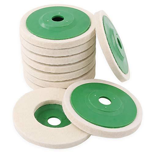 Hilitchi 10 Pcs 4'' 100mm Wool Polishing Wheel Buffer Pads Felt Polishing Wheel Disc