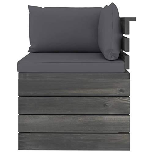 Tidyard Conjuntos Sofa Exterior Patio Muebles de jardín de palets 4# 6 Piezas Cojines Madera Maciza Pino