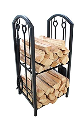 Everflying Fireplace Log Rack with 4 Tools Indoor Outdoor Fireside Firewood Holders Lumber Storage Stacking Black Wrought Iron Logs Bin Holder for Fireplace Tool