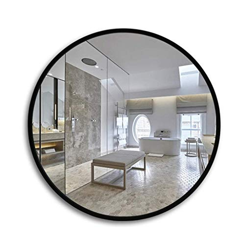 Household Necessities/ronde rand hout badkamerspiegel spiegel spiegel wandspiegel badkamerspiegel spiegel spiegel 70*70CM Zwart