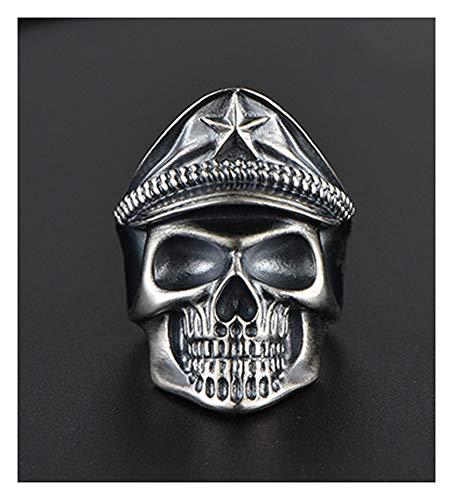 RXSHOUSH Anillo de plata S925 con diseño de calavera para hombre, anillo de regalo para novio, 16#