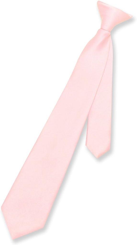 Vesuvio Napoli Boy's CLIP-ON NeckTie Solid PINK Color Youth Neck Tie