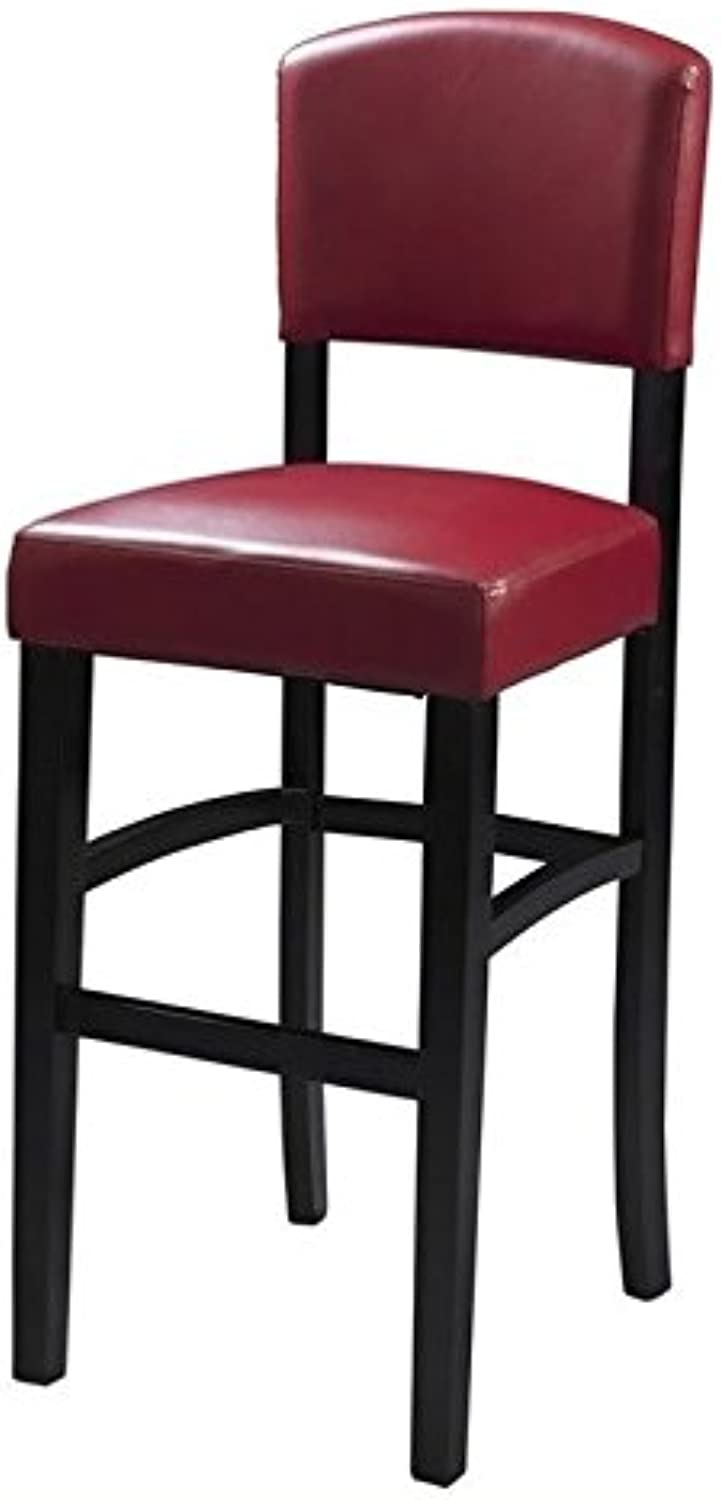 Pemberly Row 30  Faux Leather Bar Stool in Espresso and Dark Red