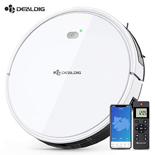Aspirateur Robot Intelligent 1800Pa, DEALDIG Robot Aspirateur Connecté Wifi et Alexa, Aspiration Puissante sur...