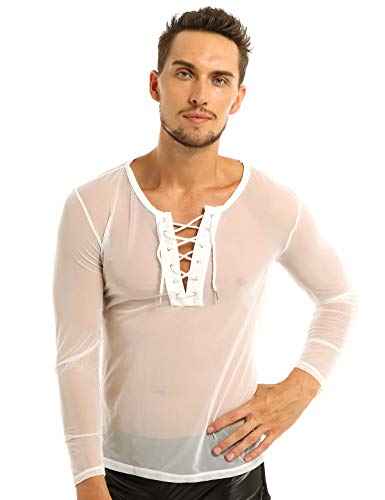 YiZYiF Herren Transparent T Shirt Tops Netzshirt Dessous Unterwäsche Langarm Unterhemd Reizwäsche Sportshirt Sweatshirt Slim Fit M L XL Weiß Medium
