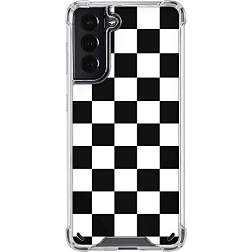 Skinit Clear Phone Case Compatible with Galaxy S21 5G - Skinit Originally Designed Black and White Checkered Design