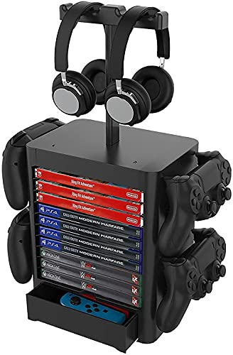 XIAOWANG Multifunction Game Storage Tower Stand, Player Play Tower for PS5, Game Disk Rack and Controller/Headset Stroller Compatible with Xbox Series X/Nintendo Switch / PS4 / PS5, Black,A