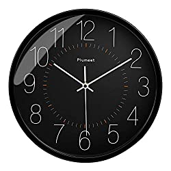 Plumeet Silent Wall Clock - 12 Inches Non-Ticking Quartz Black Clocks for Living Room - Battery Operated - Decorative Home Kitchen Office School