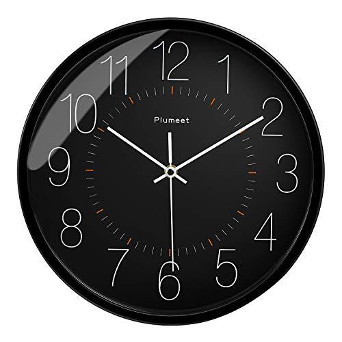 Plumeet Leise Wanduhr – 30,5 cm nicht tickend Quarz Schwarz Uhren für Wohnzimmer – batteriebetrieben – Dekorative Home Küche Büro Schule