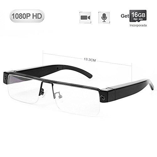 WISEUP 16GB 1080P HD Lentes Camara Espia Oculta Camufladas Anteojos Gafas Videocamara de Espionaje…