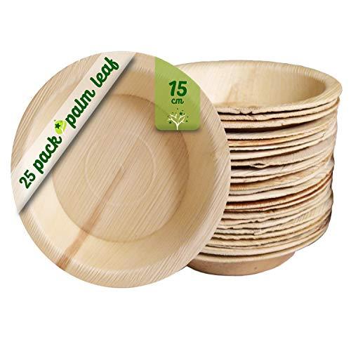 GoBeTree Plato de Hoja de Palma, 25 Platos Redondos de Ø15 cm, Platos Desechables ecológicos para cumpleaños, Fiestas, barbacoas, Bodas, Eventos y picnics, vajilla desechable Biodegradable