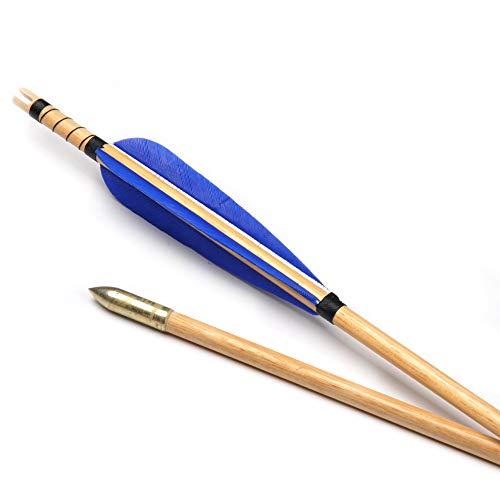 LI-Xia-Jian, Frecce 6 12 24 Pezzi di Legno di 80 cm Strisce Blu Turchia Piuma for 30-50 Lbs Compound Bow Tiro Tiro con L Arco Caccia (Colore : 24 PCS)