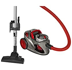 Clatronic vacuum cleaner BS 1294, 2 HEPA filters, adjustable floor brush, bagless filter technology, 1.25 L tank volume, 700 W, anthracite-red