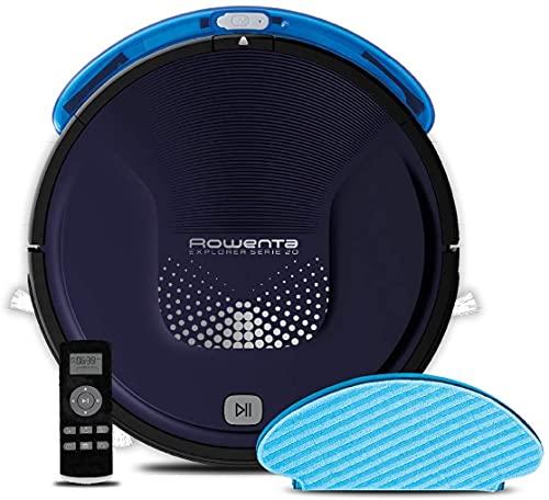 Rowenta RR6871 Explorer Serie 20, Robot Aspirapolvere Lavapavimenti, 3 modalità di Pulizia, Fino a 150 Minuti di Autonomia, Nero, Blu, 65 decibeles