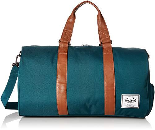 Herschel Supply Co. Novel Duffel Bag, Deep Teal/Tan Synthetic Leather, Mid-Volume 33L