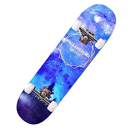 ZHBH Complete Pro 79 cm standard lönn skateboard, LED-lätta hjul, pojkar flickor nybörjarborste gatudans bräda galax cruiser lastlager 150 kg (inget blixthjul)