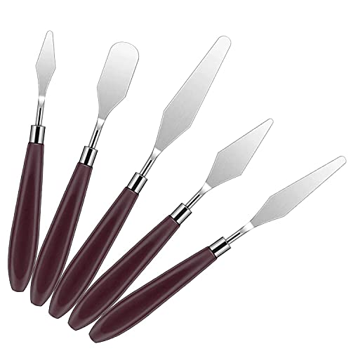 Painting Knife Paint Knives Set,5pcs Stainless Steel Spatula Palette Knife Oil Paint Metal Knives Painting Accessories for Art and Paint