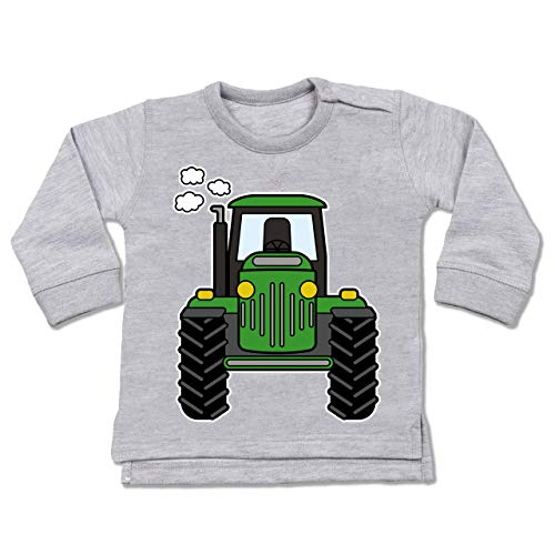 Shirtracer Fahrzeuge Baby - Traktor Front - 12/18 Monate - Grau meliert - Pullover Jungs - BZ31 - Baby Pullover