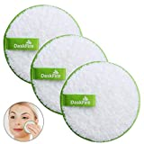 Reusable Makeup Remover Pads, Facial Make Up Removal Wipes, Washable Face Cleaning Cloths, Soft Makeup Remover Rounds, Hypoallergenic for Mascara, Eye Shadow, Lipstick, Foundation -3 pcs, 4.5' Dia