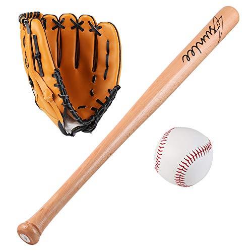 FHCSAO Conjunto De Principiantes De Béisbol, Guantes De Lanzadores Guante De Béisbol Infantil, Guante De Softbol Profesional para Atrapar,Brown-10.5inches