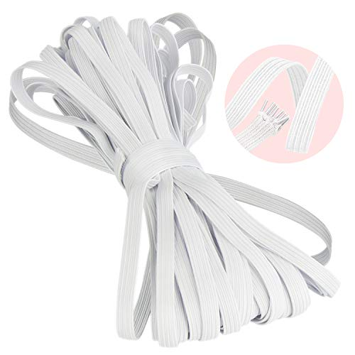Elastic-Bands-for-Sewing, Elastic Rope/Elastic Cord Heavy Stretch High Elasticity Knit Elastic Band for Sewing Crafts DIY, Bedspread, Cuff(White, 10-Yards Length, 1/4' Width)