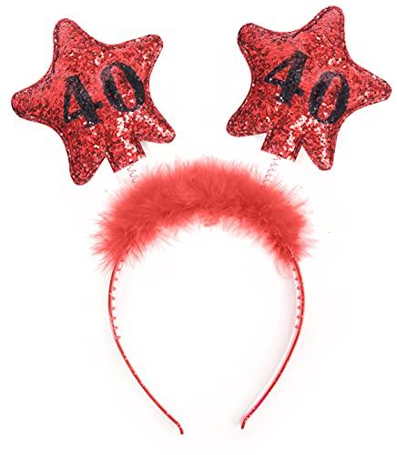 cappello 40 anni compleanno PartyDeco- Cerchietto Compleanno 40 Anni con Piume e Stelle