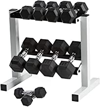 Cap Barbell Rubber Hex Dumbbell Set, 150-Pound to CAP Barbell Rubber Coated Dumbbell Set with Storage Rack (150-Pound)