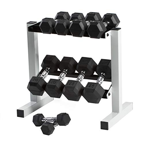 Cap Barbell Rubber Hex Dumbbell Set, 150-Pound' to 'CAP Barbell Rubber Coated Dumbbell Set with Storage Rack (150-Pound)