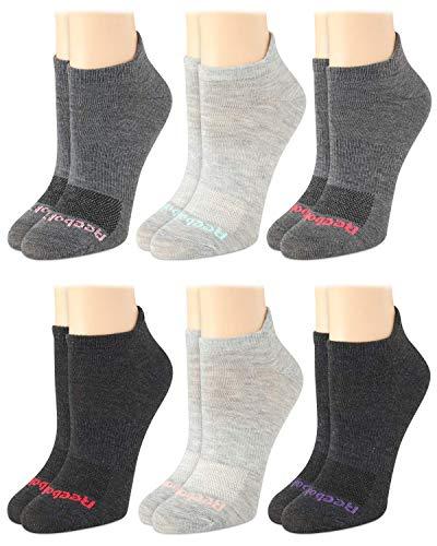 Reebok Women's Socks - 6 Pack Athletic Quarter-Crew Socks, Size Shoe Size: 4-10, Grey