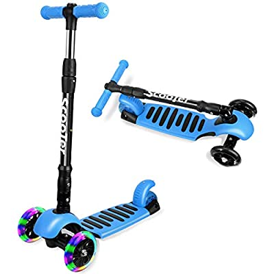 I·CODE 3 Wheel Scooter for Kids, Premium Kick Scooter with Anti-Slip Deck,Flashing Wheels,Lean to Steer for Toddler Girls & Boys(3-10 Year)